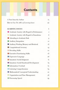 The ABCs of Learning Issues Table of Contents